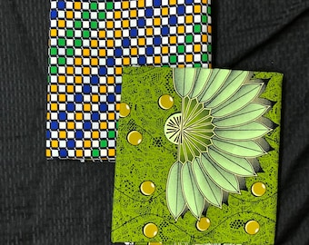 MM413 3 yds each Green/yellow fabric pair Mix aNd Match African Wax/ African Fabric/ankara/ Material/ decor pillows/ african cloth dolls