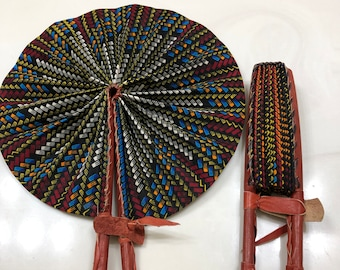 Blue beige brown Ankara african wedding favor ethnic print fabric round windmill style handmade hand fan with leather trim folding