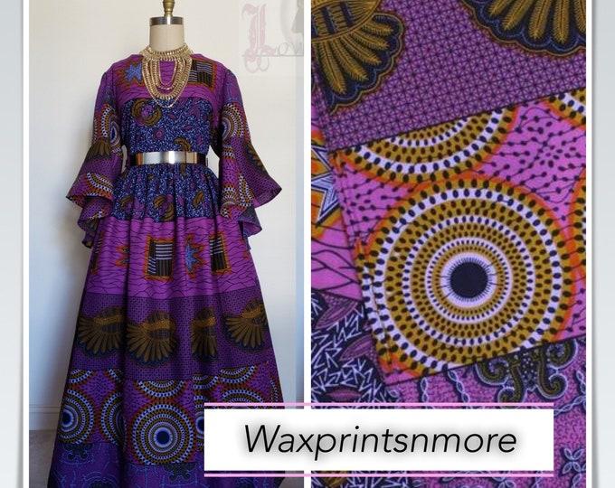 A1265 Purple African fabric per yard/ Kitenge African wax/ African   print Ankara