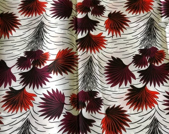 SK6 5 yards Silk white burgundy red orange leaf  ethnic print/ home decor print/ African ankara Wax print