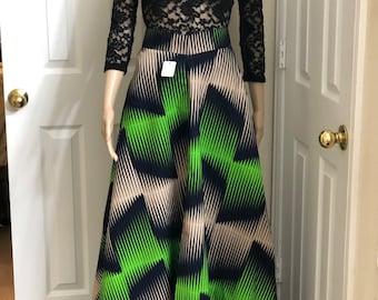 Black Green Beige Long fabric skirt / ethnic skirt / dashiki skirt / women wear/Ankara/African wax print skirt