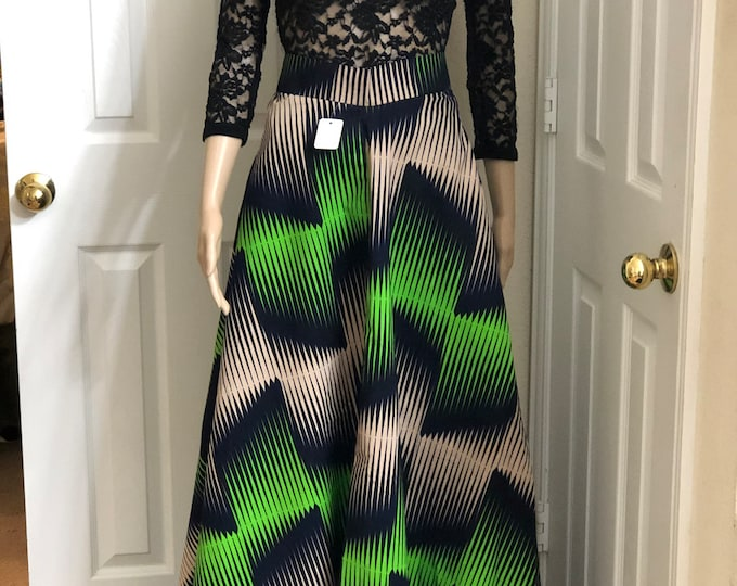 Black Green Beige Long fabric skirt / ethnic skirt / dashiki skirt / women wear/Ankara/African wax print skirt