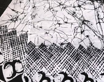 Per yard Black/ White tie dye African fabric/ kitenge /ankara for sewing dress/upholstery/ Headwrap/ tablecloth