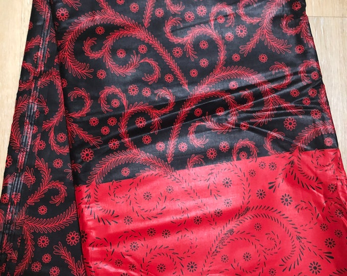 MC119 african fabric per yard black red swirl African Wax print: Ankara for Sewing Dresses/African art/tribal print