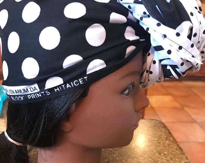 Extra long  22x 108 inch black and white polka dot floral  design  African Fabric / ankara/ african print:head wrap/turban