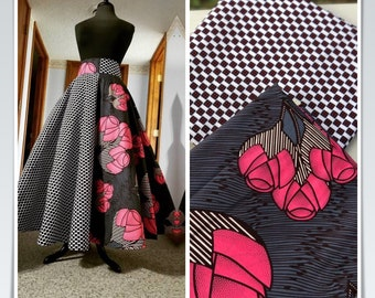 MM110 3 yards Each Pink /black white floral Mix and Match African Fabric/ ankara/ african print/ Material/ ethnic print/Doll cloth