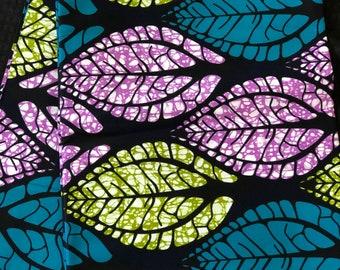 PUB11 Per yard purple/ Blue green leaf african Fabric/ kente Wax print/ kente cloth/ Material/head wrap