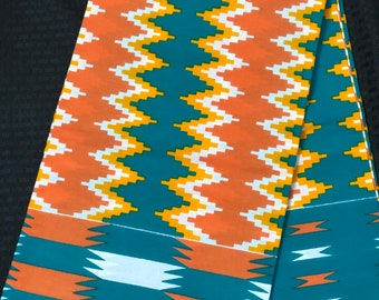 K639 6 yard yellow/ orange/peach Blue green kente african Fabric/ kente Wax print/ kente cloth/ Material/head wrap/ethnic tribal print