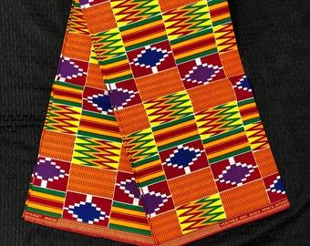 K111 Per yard orange/ purple/ yellow/ red/ Blue green kente african Fabric/ kente Wax print/ kente cloth/ Material/head wrap