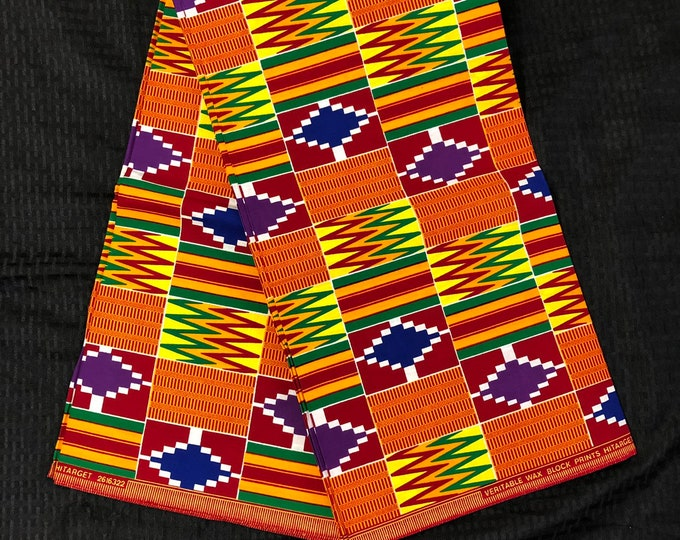 K611 6 yard orange/ purple/ yellow/ red/ Blue green kente african Fabric/ kente Wax print/ kente cloth/ Material/head wrap
