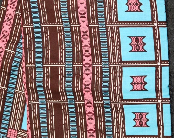 African fabric per yard Blue Pink Traditional Ghanaian stool African Wax print/ Ankara/ African Cloth/ Material/ Ghana/ Nigeria Fabric