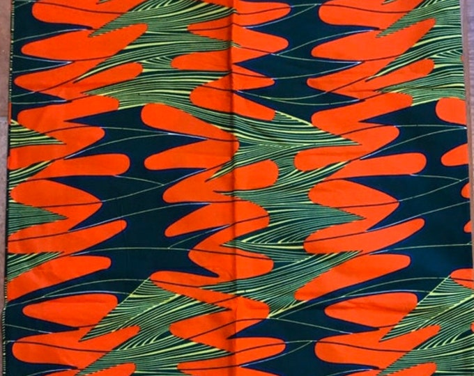 OG1 african fabric per yard Orange /green / clothing African Fabric/African Wax print/ Ankara for Dress/ African cloth dolls/ African decor