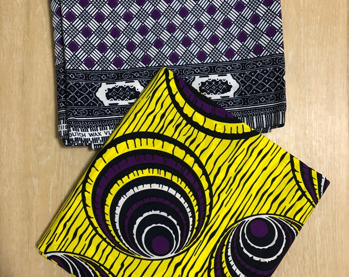 MM488 3 yards each  Yellow purple  Mix and Match Combo African Fabrics/ African Wax prints/ Ankara/ African Material/ ethnic