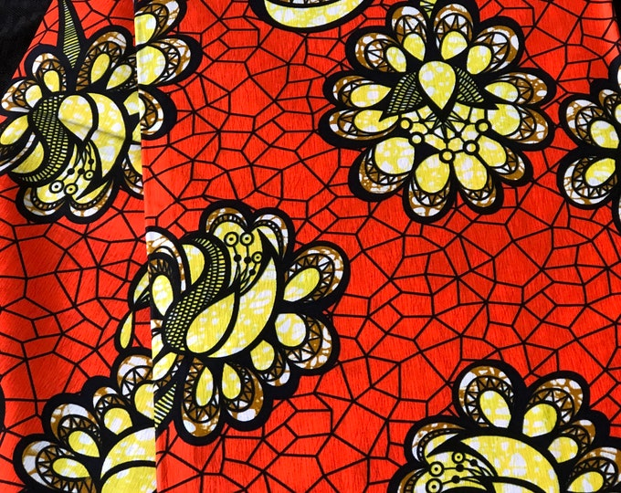 OYB1 african  fabric per yard Yellow orange / black floral African Wax print/ Ankara for Dress/ African cloth dolls/ African decor