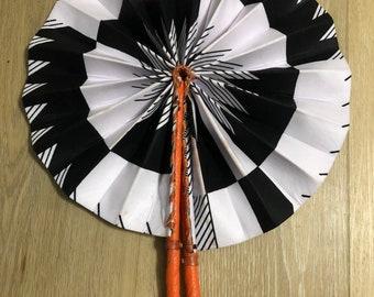 Black white Ankara african wedding favor ethnic print fabric round windmill style handmade hand fan with leather trim folding