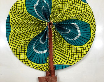 lime  green teal Kente Ankara african wedding favor ethnic print fabric round windmill style handmade hand fan with leather trim folding
