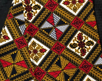A6556 6 yd White/ red/brown/ Yellow/orange diamond kitenge African Fabric/African Wax print/ Ankara for Sew Dress/ African Art/ cloth dolls