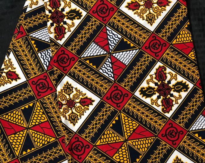 A6556 6 yd White/ red/brown/ Yellow/orange diamond kitenge African Fabric/African Wax print/ Ankara for Sew Dress/ African Art/ cloth dolls