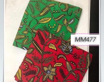 MM477 3 yards each  Green red floral Mix Match African Wax/ African Fabric/ankara/ Material/ decor pillows/ african cloth dolls