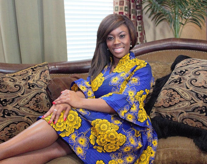 Blue and yellow floral Knee length African fabric dress with Chinese collar and flute sleeves