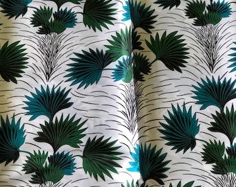 SK4 5 yards Silk White green teal blue leaf Silk print/ african silk fabric/ ethnic silk fabric/ African doll cloth