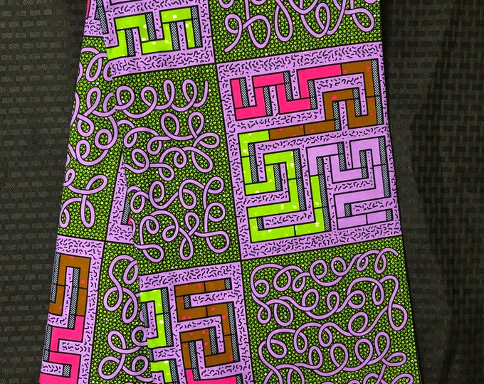PUG16 african fabric per yard Purple green pink maze/ puzzle african Fabric/ African  print/ kitenge Ankara Sew Dress/ cloth dolls