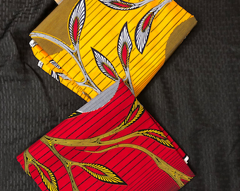 MM258 Mix Match sun african fabric pair Red/ Yellow African Fabric/ ankara/ african Wax Print/ ethnic print/ African Material/ Doll Cloth