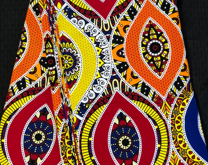 MC18 African fabric per yard mud cloth multicolor orange yellow white green Mudcloth Design ankara/ african Material/ Cloth/ wrapper/