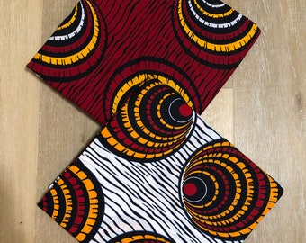 MM484 Mix Match african fabric pair Red/ orange Yellow African Fabric/ ankara/ african Wax Print/ ethnic print/ African Material