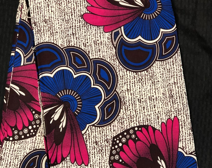 PB11 African fabric per yard Blue pink white floral African Wax print/ Ankara/ Sew Dress/ african table napkins/ ho