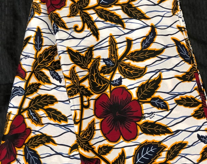 WF61 6 yards african fabric yard new White red Flower kitenge / Ankara/ African Wax print/ African Material/ ghana Cloth / ntoma