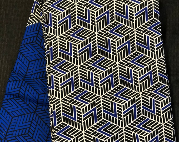 BLW12 African fabric per yd royal Blue white block hexagon geometric ankara/ african Wax Print/ ethnic print/ African material/ home decor