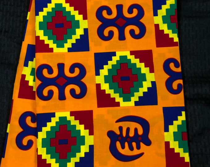 BK6 6 yard orange/mustard yellow purple/red/ green kente african Fabric/ kente Wax print/ kente cloth/ Material/head wrap