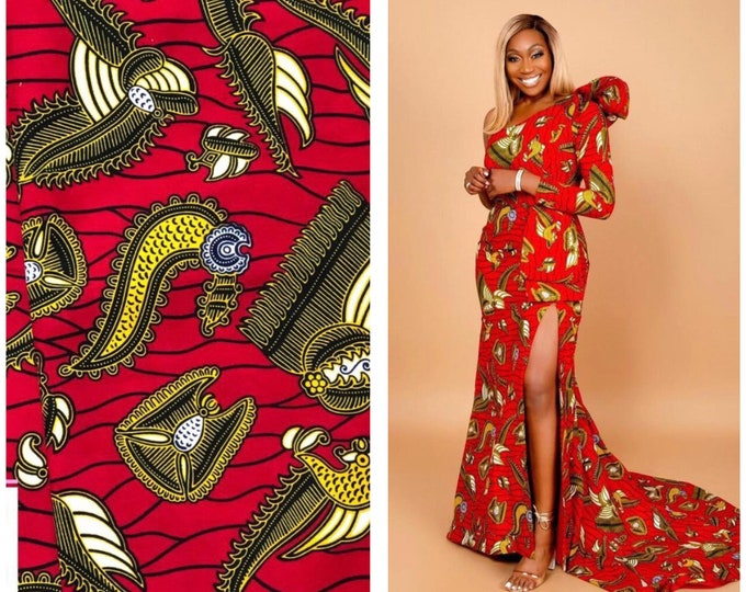 RY17 African fabric by yard gold yellow black  red / African Wax print: Ankara for Sew Dresses/African art/tribal print