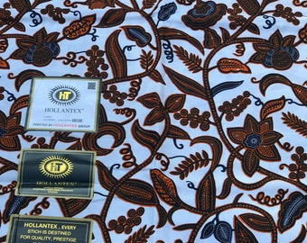 A6237 6 yards White Brown/ red Leaf ahwene pa design African fabric/ ankara/ Wax Print/ ethnic print/ African Material