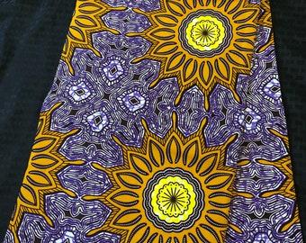 PUG63 6 yard Mustard yellow gold lilac purple ankara Wax fabric/ethnic fabric/ traditional fabric/ African Material/ cloth/ dashiki
