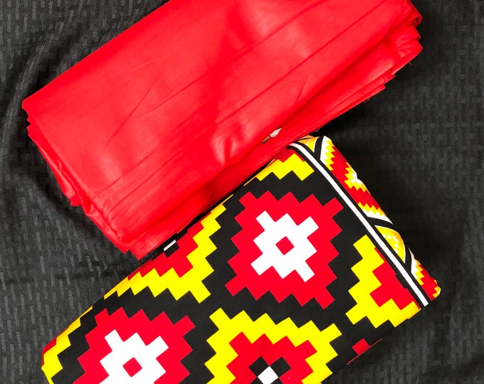 MDM6 Mix Match mud cloth african fabric pair Red/ Yellow African Fabric/ ankara/ african Wax Print/ ethnic print/ African Material