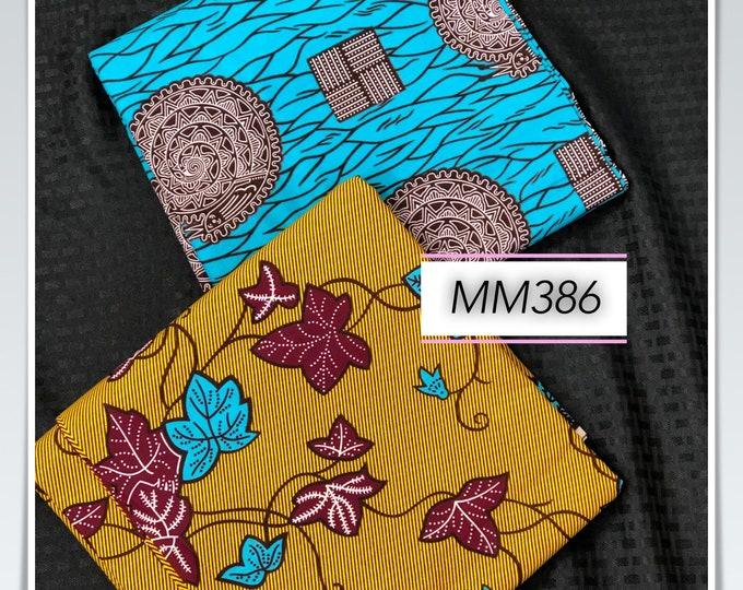 MM386 3 yard each Blue/ mustard Yellow Mix Match snail leaf Design African Fabric/ African Wax print/ Ankara/ African Material Cloth