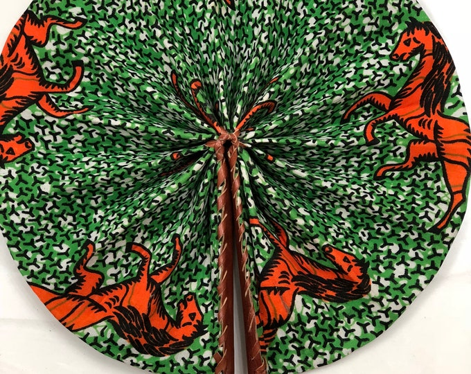 Orange Green  Kente Ankara african wedding favor ethnic print fabric round windmill style handmade hand fan with leather trim folding