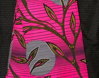 PIY15 african fabric per yard pink yellow sun moon leaf African Wax print/ Ankara for Sewing Dress/ African hats/ art crafts/do