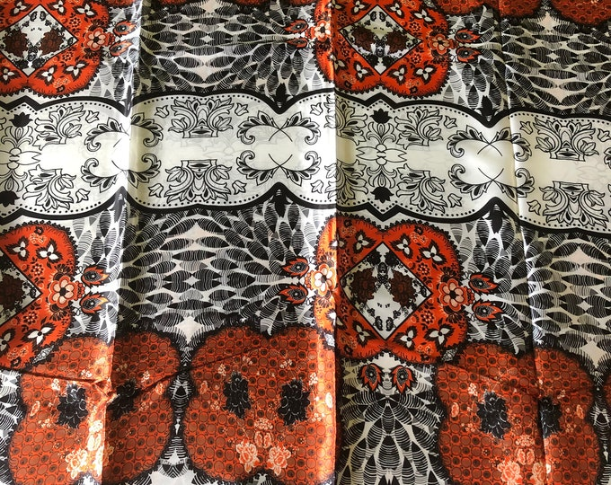 SK3 Silk Black Multicolor 5 yards black white burnt orange African  Print/ African Wax print/ Fabric for dolls and Africans