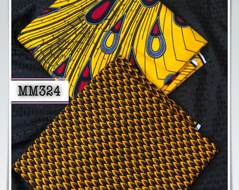 MM324 3 yd each fish scale Mix Match african fabric pair Red/ Yellow / ankara/ african Wax Print/ ethnic print/ African Material/ Doll Cloth
