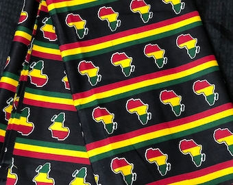 6 yards yellow red black african map kitenge African fabric/ african print/ African clothing/ African home decor/ ethnic print/ material
