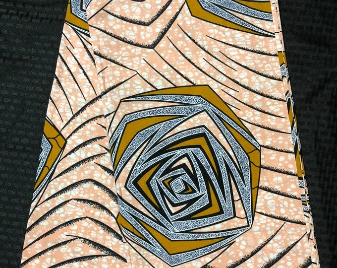 PIB6 6 yards peach pink/brown design African Fabric/African Wax print/ Ankara/ Sew Dress/ african table napkins/ ho