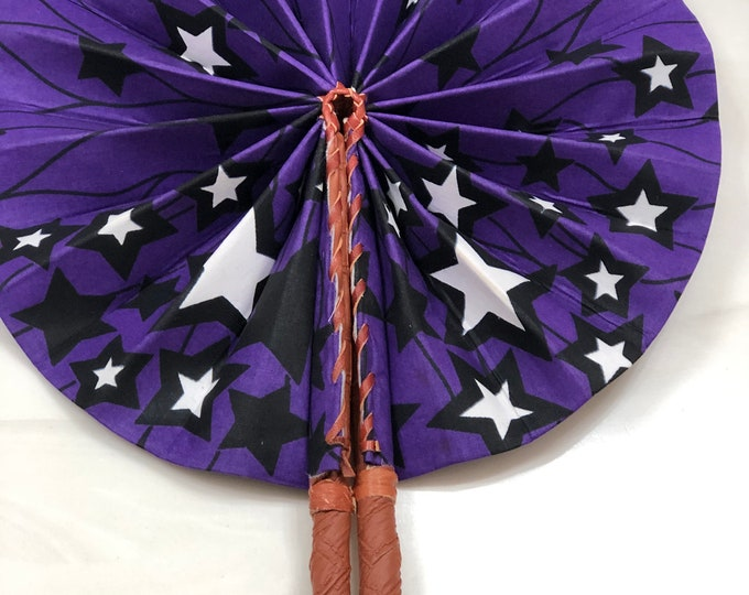 Purple white black star Ankara african wedding favor ethnic print fabric round windmill style handmade hand fan with leather trim folding