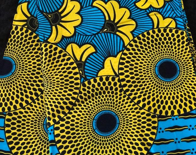 BLG6 6 yard yellow green blue bullseye floral lip African Fabric/ ankara/ african Wax Print/ ethnic print/ traditional print