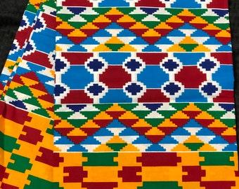 K648 6 yard yellow/ orange/Blue green kente african Fabric/ kente Wax print/ kente cloth/ Material/head wrap/ethnic tribal print