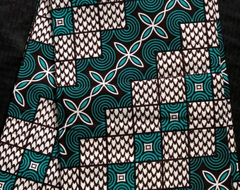 TB2 African fabric per yard Teal brown white floral fish scale  African Wax print/ Ankara/ African Material/ cloth/ wrapper