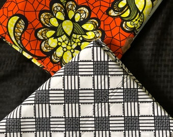 MM445 3 yard each floral Orange black white Mix Match African Wax/ African Fabric/ankara/ Material/ decor pillows/ african cloth dolls