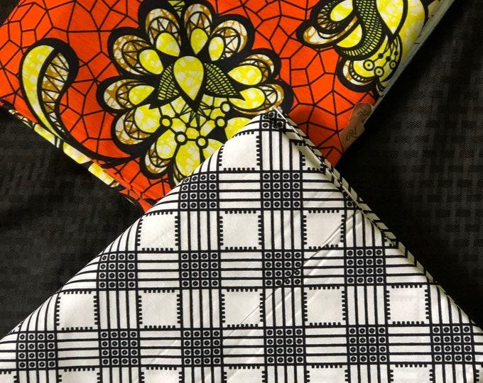MM445 3 yard each floral Orange black white Mix Match African Wax/ African Fabric/ankara/ Material/ decor pillows/ african cloth dolls